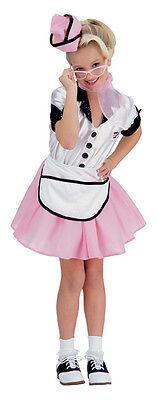 Girls 50s Waitress Costume Poodle Skirt Soda Pop Girl Childs Pink Kids Halloween - 1950 S Costume