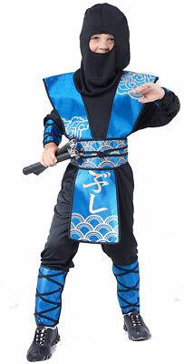 Ninja-Jungen-Kostüm blau-schwarz-goldfarben Cod.173889