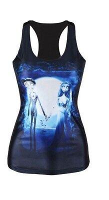 nk Top Trägertop Shirt XS/S/M 34 36 38 digital top Halloween (Corpse Bride Halloween)