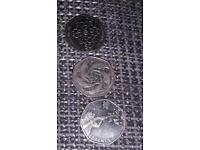 3 Rare 50p coins girl guiding,dolphins,London Olympics shooting.