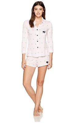 Betsey Johnson Women's Knit Notch Collar Short Pajama Set, Large