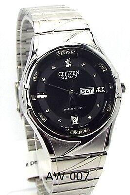 New Citizen Japan Quartz Movement, , Silver-tone, Black-dial, Men  Dress Watch
