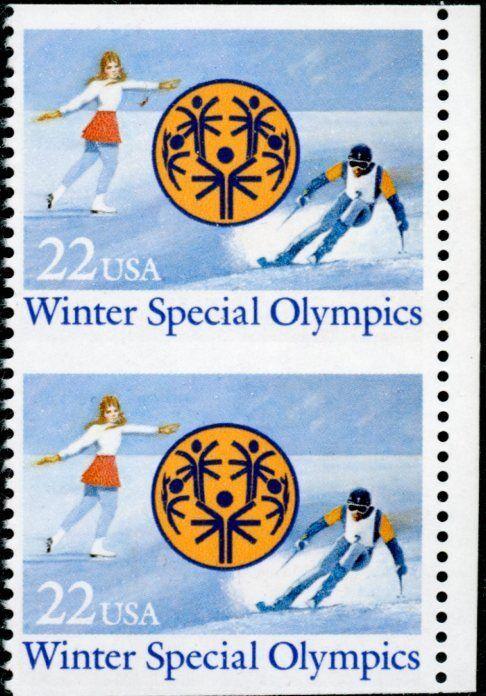 """#2142a """"winter Special Olympics"""" Vert. Pair Imperf Horiz. Major Error Bn4300"""