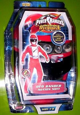 Power Rangers Costume NeW Boy's size 7/8 Operation Overdrive RED Ranger + Mask