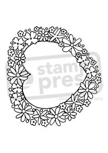 A7 'Floral Heart Frame' Unmounted Rubber Stamp (SP003741)