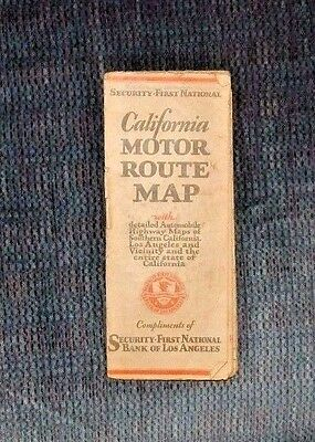 1930 California Motor Route Map Security First National Bank Of Los Angeles Ca