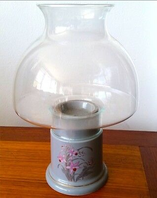 Vintage Modernist Fine China Hurricane Candle Lamp