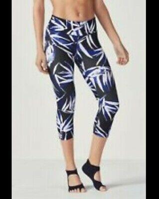 fabletics salar capri bamboo yoga gym leggings pants blue white black XS uk 8