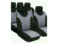 Brand New set of Black & GREY Car Seat Covers set including headrest covers
