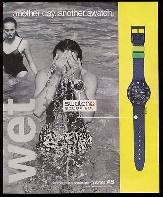 1993 Swatch Scuba 200 diving rowing watch photo vintage print ad