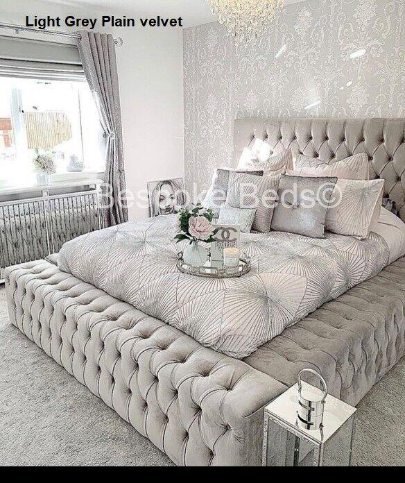 Chesterfield Park lane Bed frame velvet crush velvet king ...