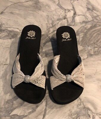Embossed Wedge Sandals - YELLOW BOX Specified Silver Embossed Leather Sandals Wedge Slides Sz 9 Shoes