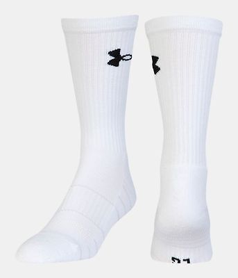 2 PAIR Men's UA Golf Elevated Performance Crew Socks White LG FITS SHOE 9-12.5
