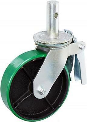 Casterhq- 6 X 2 Scaffold Caster With Brake - Polyurethane On Cast Iron Wheel -