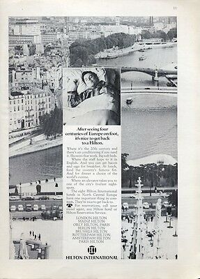 1969 Hilton Hotels Print Ad Features Various European Hotels