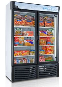 NEW COMMERCIAL 2 GLASS DOOR DISPLAY FREEZER FROZEN FOOD LED LIGHTS 120V CASTERS