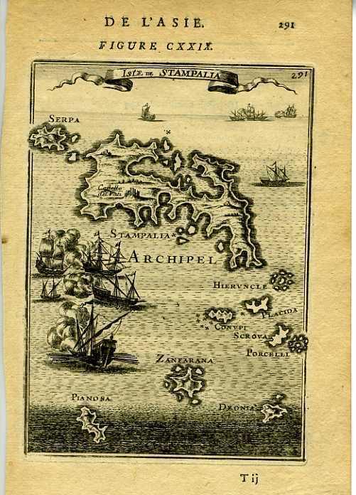 1683 Genuine Antique map Turkish Islands: Stampalia, Zanfarana etc. A.M. Mallet