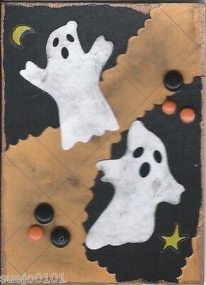 ACEO ATC Art Card Collage Original Halloween Ghosts Moon Stars Black Orange