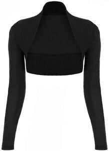 NEW WOMENS LADIES LONG SLEEVE BOLERO SHRUG CARDIGAN SLEEVED TOP SIZE 8-10-12-14