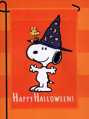 Garden Flag Snoopy Peanuts Happy Halloween Witch Hat Costume Outdoor Small NEW (Flag Halloween Costume)