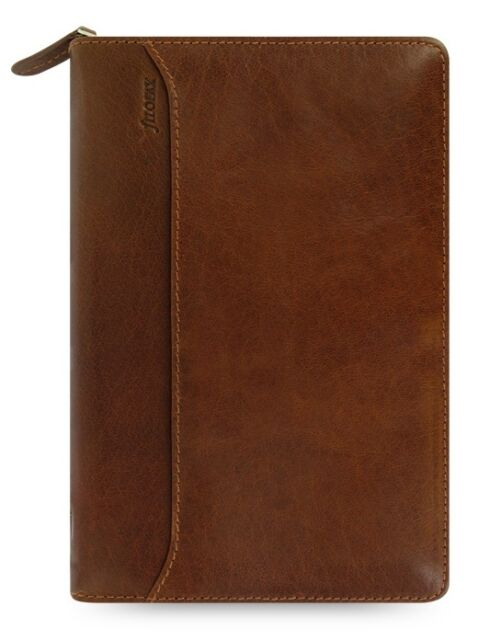 Filofax Lockwood Personal Zip Organiser Cognac Full Grain Buffalo Leather Cover