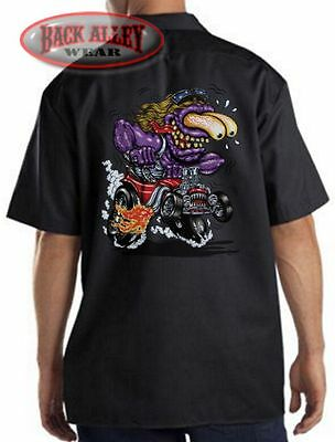 PURPLE MONSTER Mechanics DICKIES Work Shirt ~ Cartoon Hot Rat Rod ~ Muscle Car