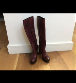 Nice Carvela burgundy leather high heels boots