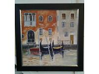 """Original oil painting by well known Bristol artist entitled """"Two gondalas and a boat"""""""