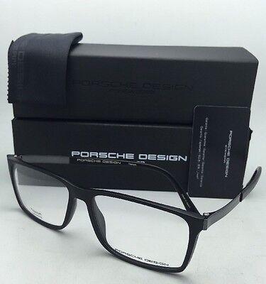 Neu Porsche Design Brille P'8260 E 56-15 Mattschwarz Rahmen mit / Chrom Tempel