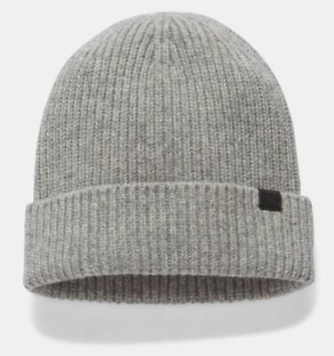 Women's Under Armour Charged Wool Beanie Gray One Size Hat Warm Cap New