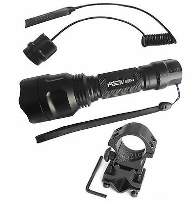 CREE T-50 LED 1600LM Flashlight Torch+Mount+Tactical Switch on Rummage