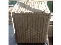 Small White Wicker Hamper with Blue China Handle