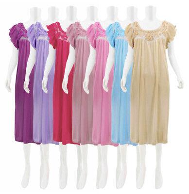 Women's Satin Lace Lingerie Underwear Dress Ruffled Sleeve Nightdress Nightgown