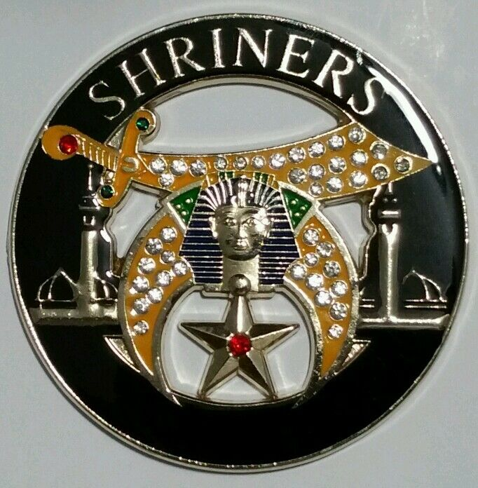 Shriners Jeweled Cut-Out Car Emblem in Black