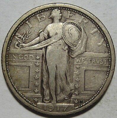 = 1917 VF/XF STANDING Quarter, TYPE 1, FREE Shipping