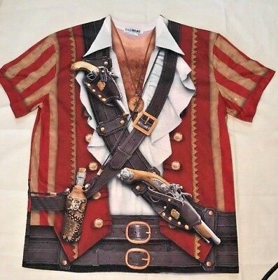 Faux Real Sublimation Swashbuckler Pirate T Shirt Costume Graphic Tee Large