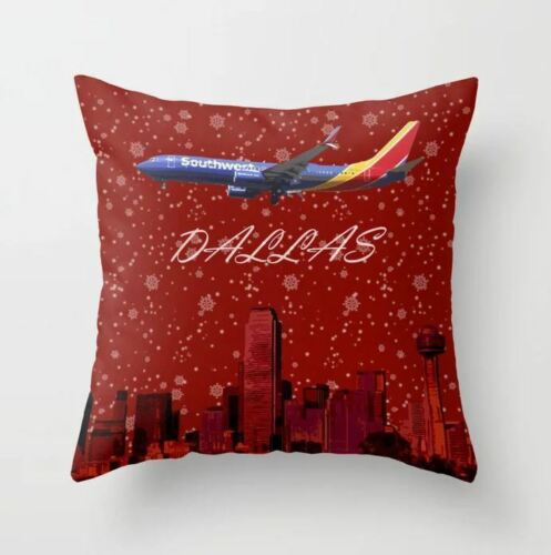 """Southwest 737 over Dallas Holiday Art - Throw Pillow (16"""" x 16"""")"""