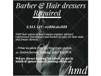 Hair Dresser / barber job available In Barking 07886562888