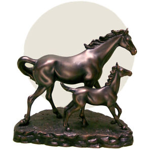 Bronze Horse & Foal Equestrian Horses Table Lamp Light