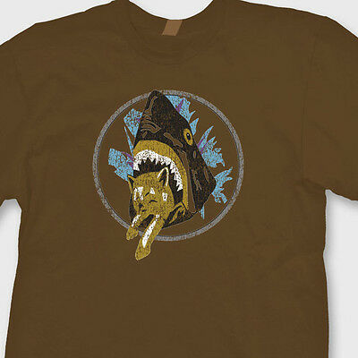 nny Shark Eats Kitty T-shirt Saul Silvers Classic Tee Shirt (Funny Shark)