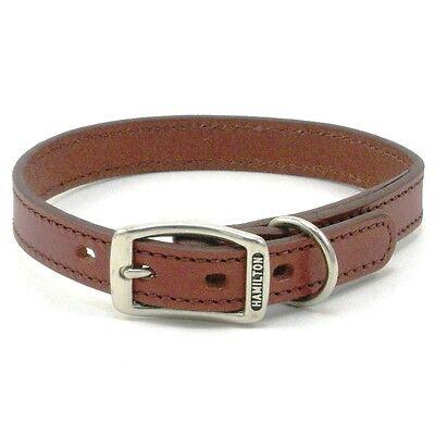 "HAMILTON Stitched Leather Dog Collar, 18"" x 3/4"", Brown"