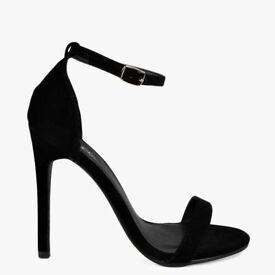 BRAND NEW Black Suedette Barely There Heeled Sandals - Size 5