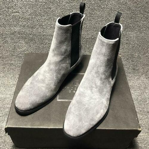 Ankle Chelsea Boot Dress Suede Leather Mens Pointy Toe Slip On Shoes Oversize