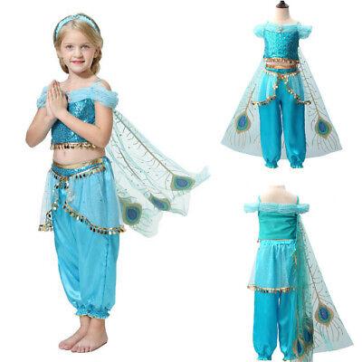 Fancy Dress Princess Jasmine (Girls Aladdin Princess Jasmine Halloween Cosplay Costume Kids Sequin Fancy)