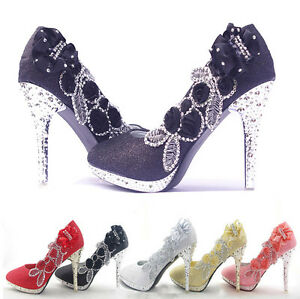 Women-Ladies-Vogue-Flowers-Glitter-Crystal-Stilettos-High-Heels-Wedding-Shoes