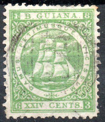 British Guiana 1863 XXIV (24c) Yellow Green VF used Scott 63