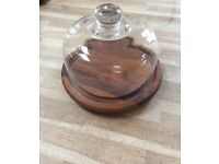 Teakwood Cheese board with glass dome