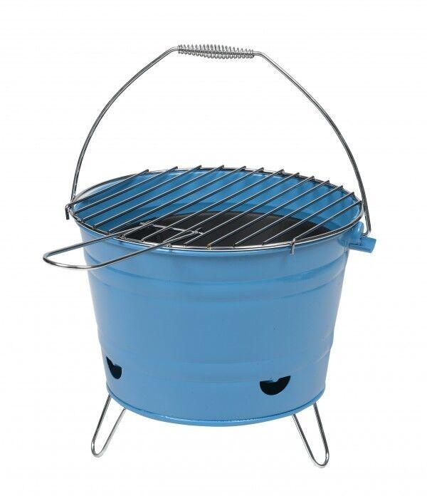Grilleimer Grill Henkel Belüftung Minigrill Eimergrill Tischgrill Grillkorb blau