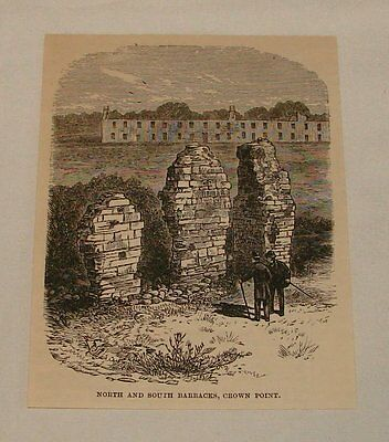 1887 magazine engraving ~ North+South Barracks CROWN POINT, VT