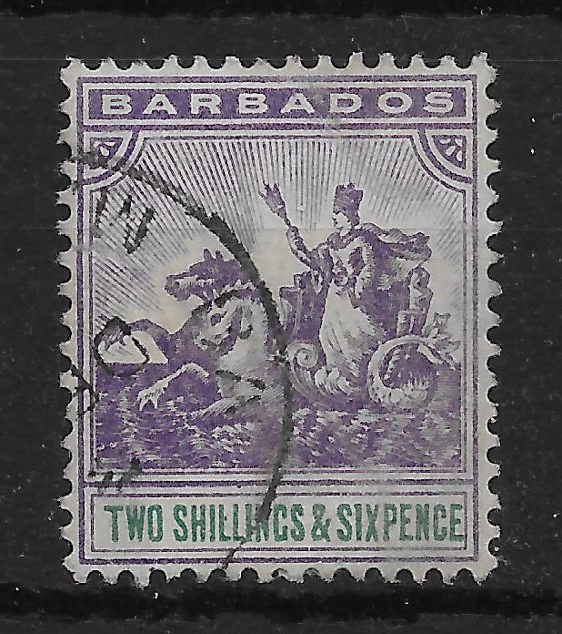 BARBADOS SG115 1903 2/6 VIOLET AND GREEN USED